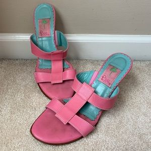 Lilly Pulitzer Pink Wedges Faux Leather Sandals